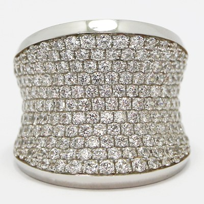 Wide Modern Pave Set Silver Ring