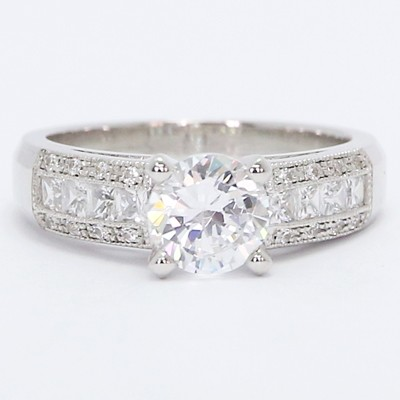 Wide Pave Set Diamond Engagement Ring 14k White Gold