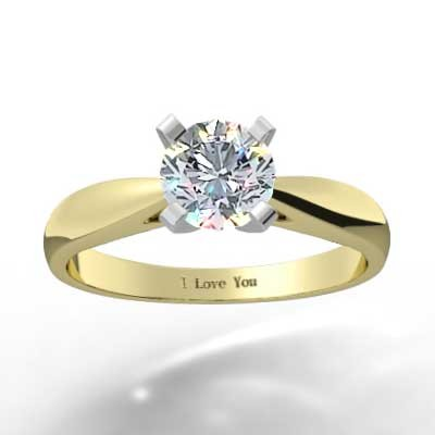 Classic Tapered Diamond Ring 14k Yellow Gold