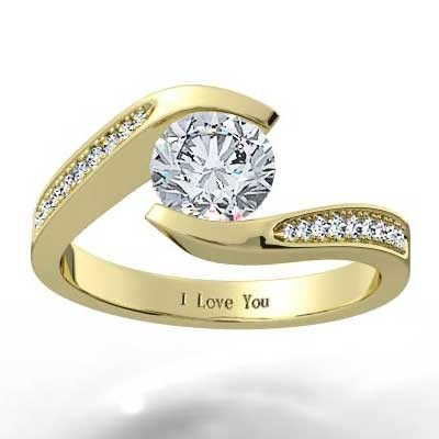 Swirl Style Engagement Ring 14k Yellow Gold