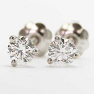 0.38 Carats Round Studs Martini Setting Earrings 14k White Gold BRM38