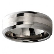 Titanium With Silver Inline Wedding Band 1449SS