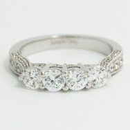 2.7-3.1mm Four Stone Band with Pave Diamonds 14k White Gold