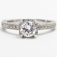 3 Side Pave with Crown Accent Diamonds 14k White Gold