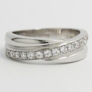 5.7-5.2mm Single Criss-Cross Wedding Band 14k White Gold L3739-1