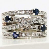 5 rows diamonds and sapphire cocktail ring 14k white gold D4720