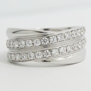 7.5-8.5mm Double Criss-Cross Wedding Band 14k White Gold L3739