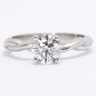 AER-A01 Twist Band Solitaire Style Engagement Ring 14k White Gold
