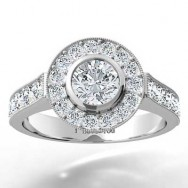 Bezel Halo Top Pave Engagement Ring 14k White Gold