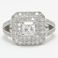 Cathedral Double Halo Radiant Stone in 925 Sterling Silver