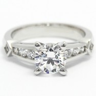 Channel Set Diamond Accent Ring 14k White Gold