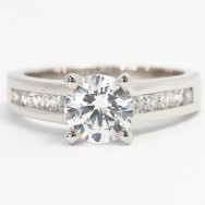 Channel Set Diamond Engagement Ring 14k White Gold