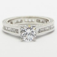 Channel Set Princess Cuts Hand Engraved Eternity Diamond Ring 14k White Gold