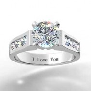 Channel Set Round Brilliant Engagement Ring 14k White Gold