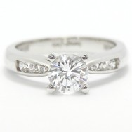 Channel Set Tapered Diamond Ring 14k White Gold