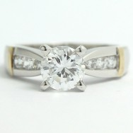 Channel Tapered Engagement Ring 14k White & Yellow Gold