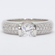Comfort Fit with Pave Accents Tension Setting 14k White Gold