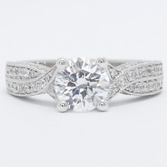 Criss Cross Pave Set Engagement Ring 14k White Gold
