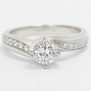 Curved Engagement Ring 14k White Gold