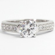 Designed High Cathedral Channel Set Ring 14k White Gold