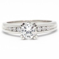 Diamond Accent Solid Engagement Ring 14k White Gold