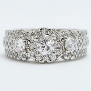 E93326 Wide Vintage Diamond Engagement Ring 14k White Gold