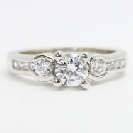 E93355 Three Stone Channel Set Diamond Engagement Ring 14k White Gold