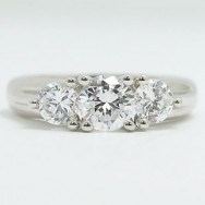 E93373 Three Stone Vintage Style Diamond Engagement Ring 14k White Gold