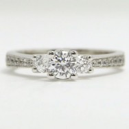 E93451-3 Three Stone Pave Set Engagement Ring 14k White Gold