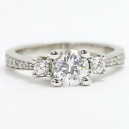 E93522 Three Stone Tapered Style Diamond Engagement Ring 14k White Gold