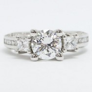 E93524 Designer Mix Shape Diamond Engagement Ring 14k White Gold