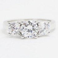 E93559 Three Stone Lucida Style Engagement Ring 14k White Gold