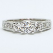 E93569 Vintage Three Stone Diamond Engagement Ring 14k White Gold