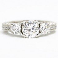 E93587 Venetian Three Stone Diamond Engagement Ring 14k White Gold