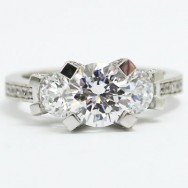 E93594 Vintage Three Stone Diamond Engagement Ring 14k White Gold