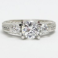 E93620 Three Stone Vintage Diamond Engagement Ring 14k White Gold