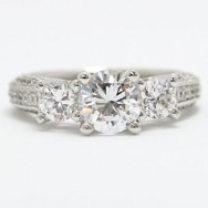 E93656 Vintage Three Stone Diamond Engagement Ring 14k White Gold