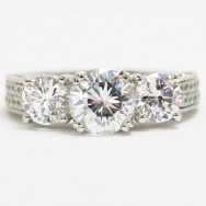 E93692 Venetian Three Stone Diamond Engagement Ring 14k White Gold