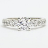 E93704 Three Stone French Cut Diamond Engagement Ring 14k White Gold