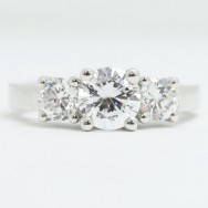 E93879 Three Stone Diamond Engagement Ring 14k White Gold