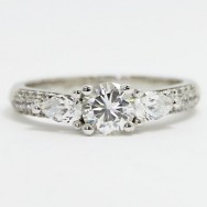 E93923 Three Stone Pave Set Diamond Engagement Ring 14k White Gold