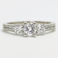 E93931 Three Stone Diamond Engagement Ring 14k White Gold