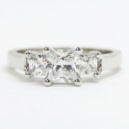 E93934 Three Princess cut Diamond Engagement Ring 14k White Gold