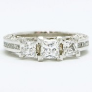 E93991 Venetian Three Stone Designed Cathedral Mix Diamonds Engagement Ring 14k White Gold