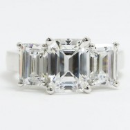 E94009 Three Stone Emerald Cut Diamond Engagement Ring 14k White Gold