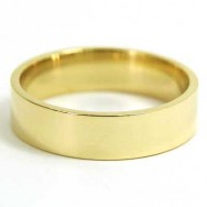 7mm Flat Wedding Band 10k Yellow Gold