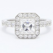 French Cut Halo Princess Diamond Engagement Ring 14k White Gold