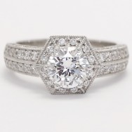 High Raise Hexagonal Cathedral Halo Engagement Ring 14k White Gold
