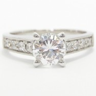 Milgrained Channel Set Diamond Ring 14k White Gold