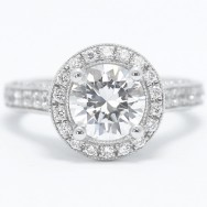 Milgrained Pave Cathedral Halo Diamond Engagement Ring 14k White Gold